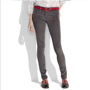 Madewell Gray Corduroy Skinny Pants 28 EUC
